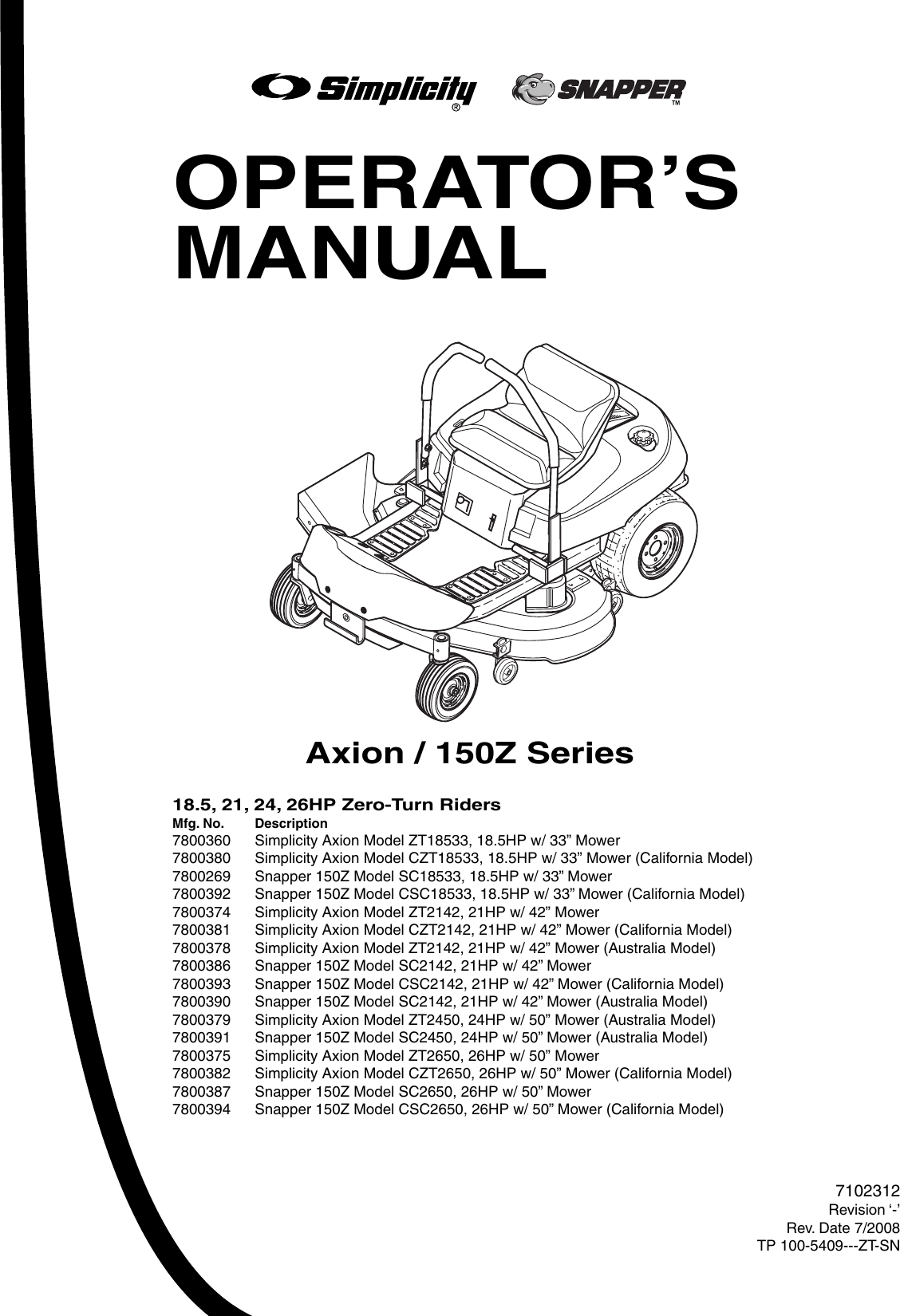 Snapper 150Z Series Users Manual