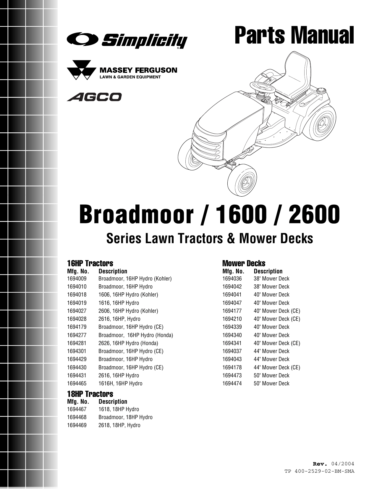 Snapper Broadmoor 2600 Users Manual PartsManual