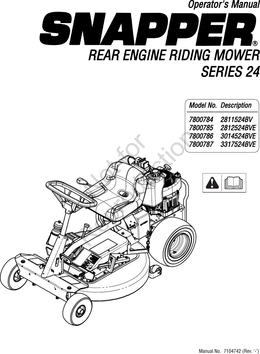 Snapper Agco Lawn Mower 7800784 Users Manual