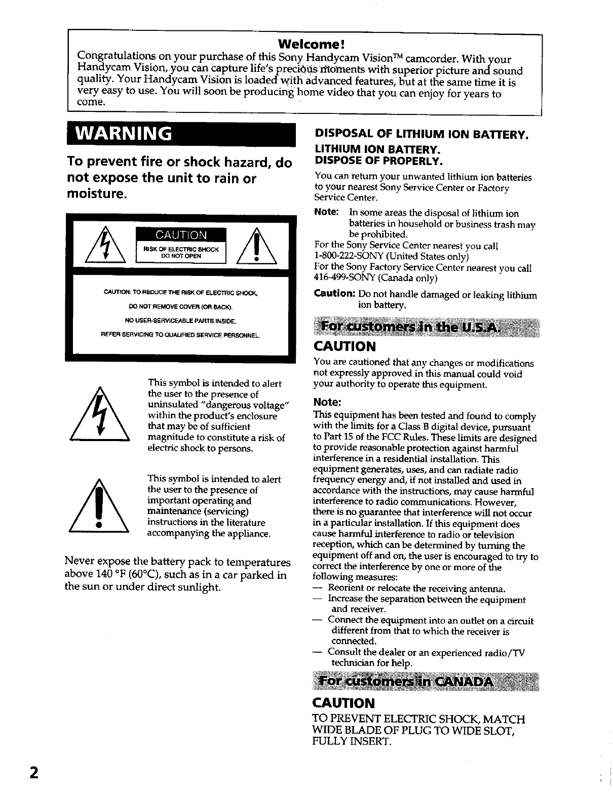 Sony CCD TRV37 User Manual VIDEO CAMERA RECORDER Manuals
