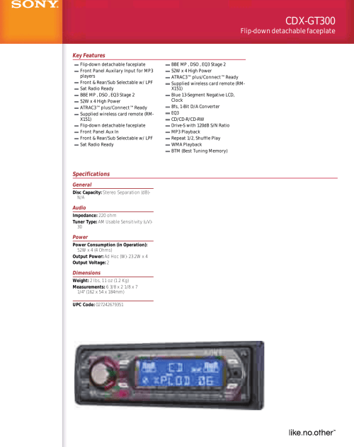 small resolution of sony cdx gt300 user manual marketing specifications cdxgt300 mkspsony cdx gt300 wiring diagram 20