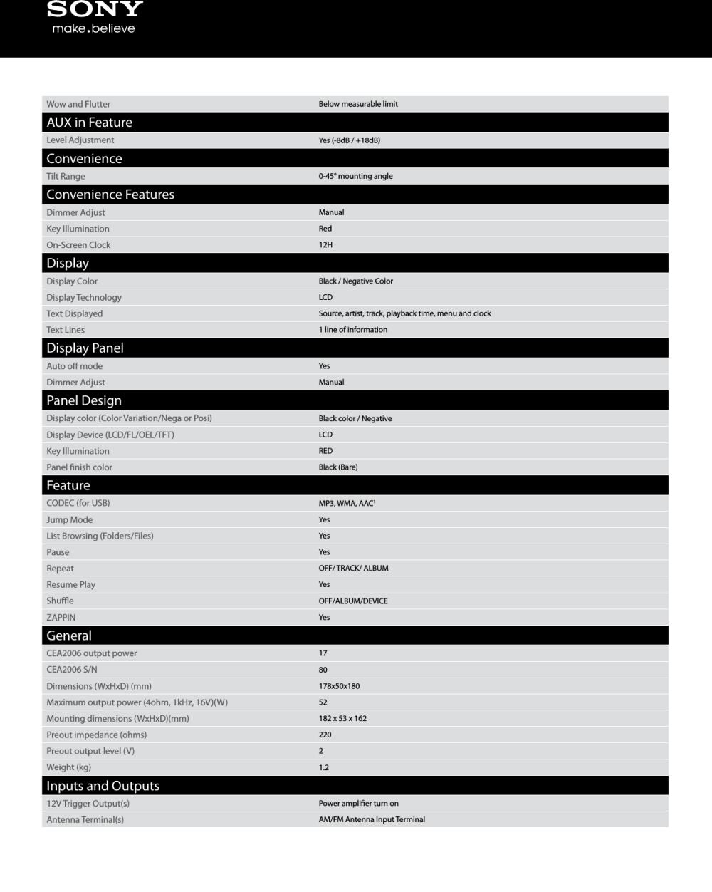 medium resolution of sony cdx gt56ui user manual marketing specifications cdx gt56ui sony cdx gt56ui wiring diagram