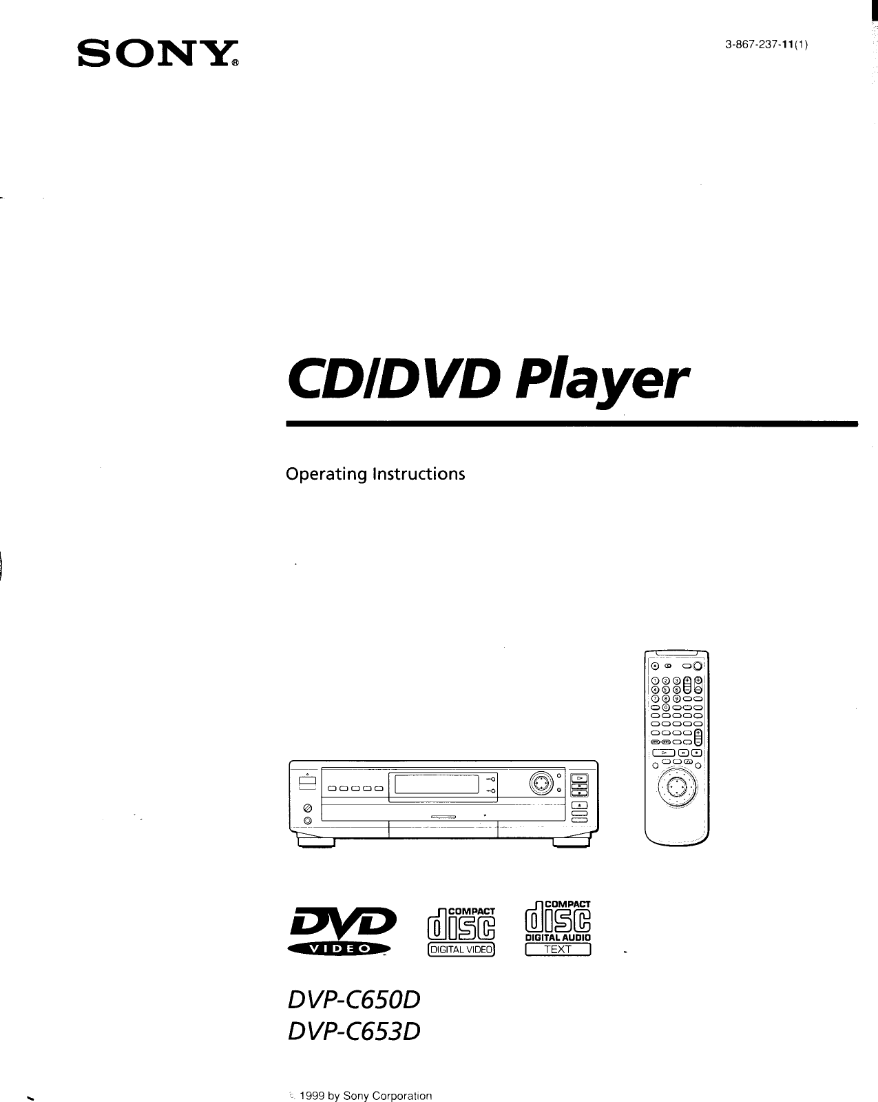 Sony DVP C650D User Manual Operating Instructions DVPC650D