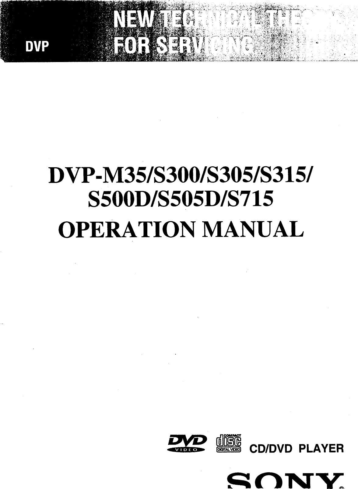 Sony DVP S500D User Manual CD/DVD SYSTEM Manuals And