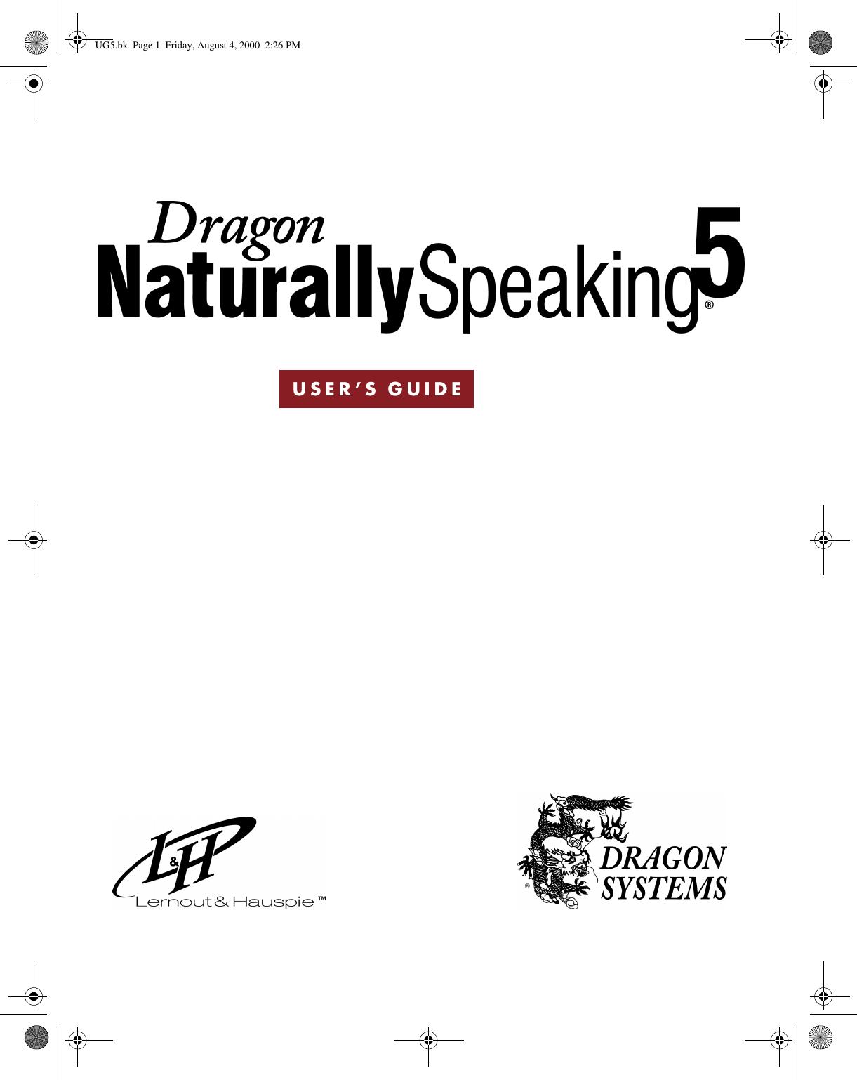 Sony ICD SX46VTP Dragon NaturallySpeaking 5 User's Guide