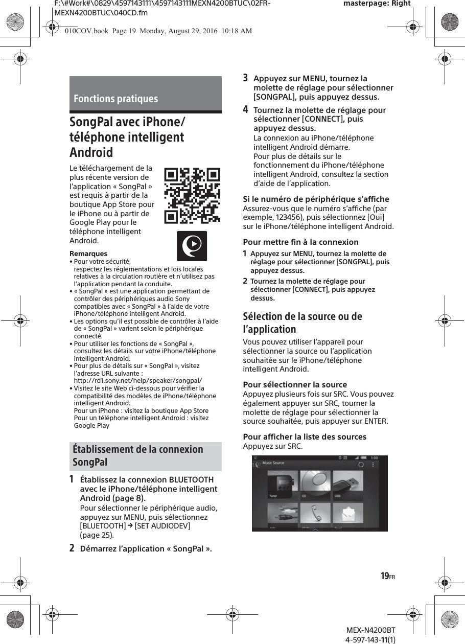 Sony MEXN4200BT Bluetooth Audio System User Manual MEX N4200BT