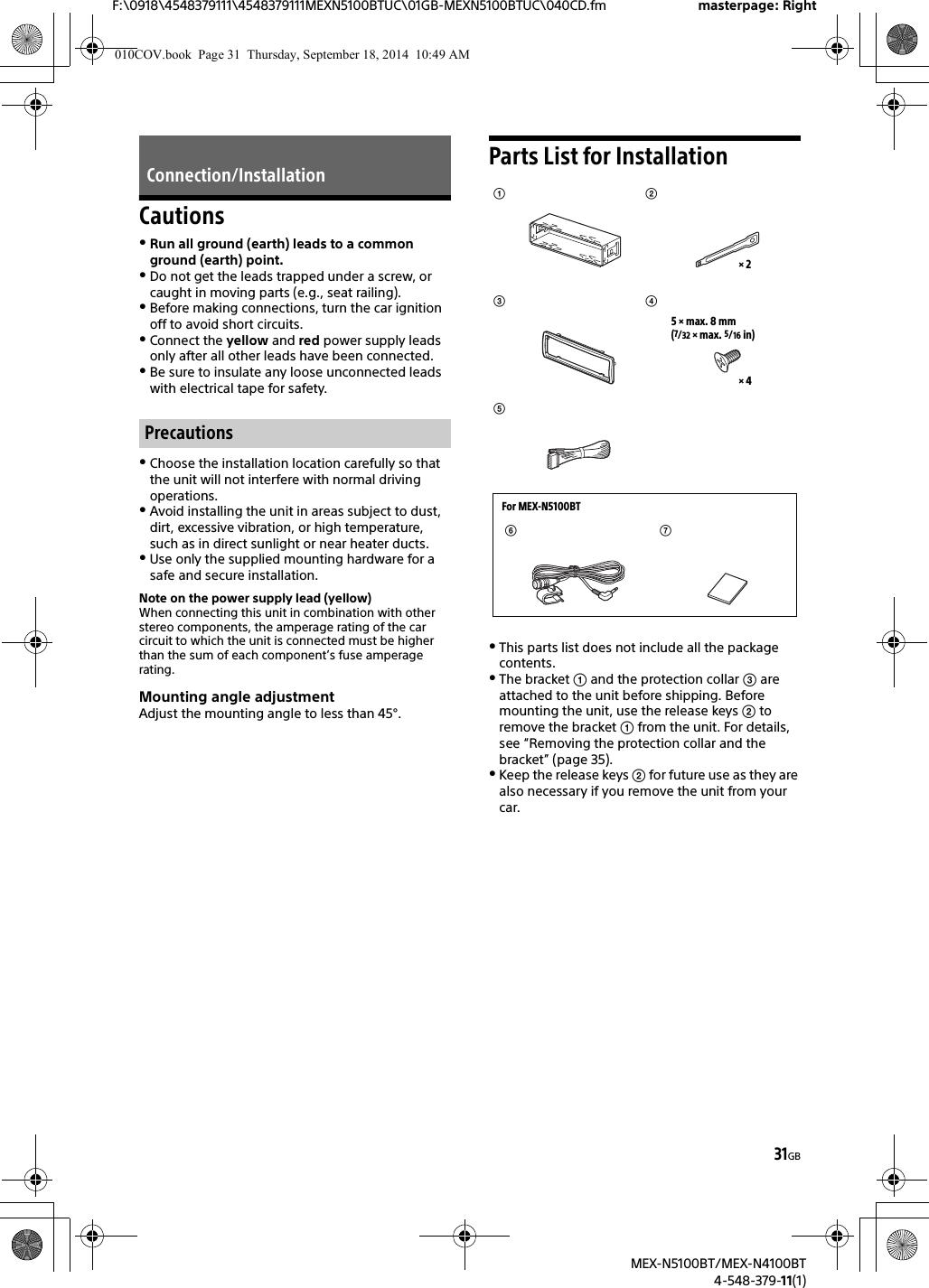 Sony MEXN5100BT Bluetooth Audio System User Manual MEX