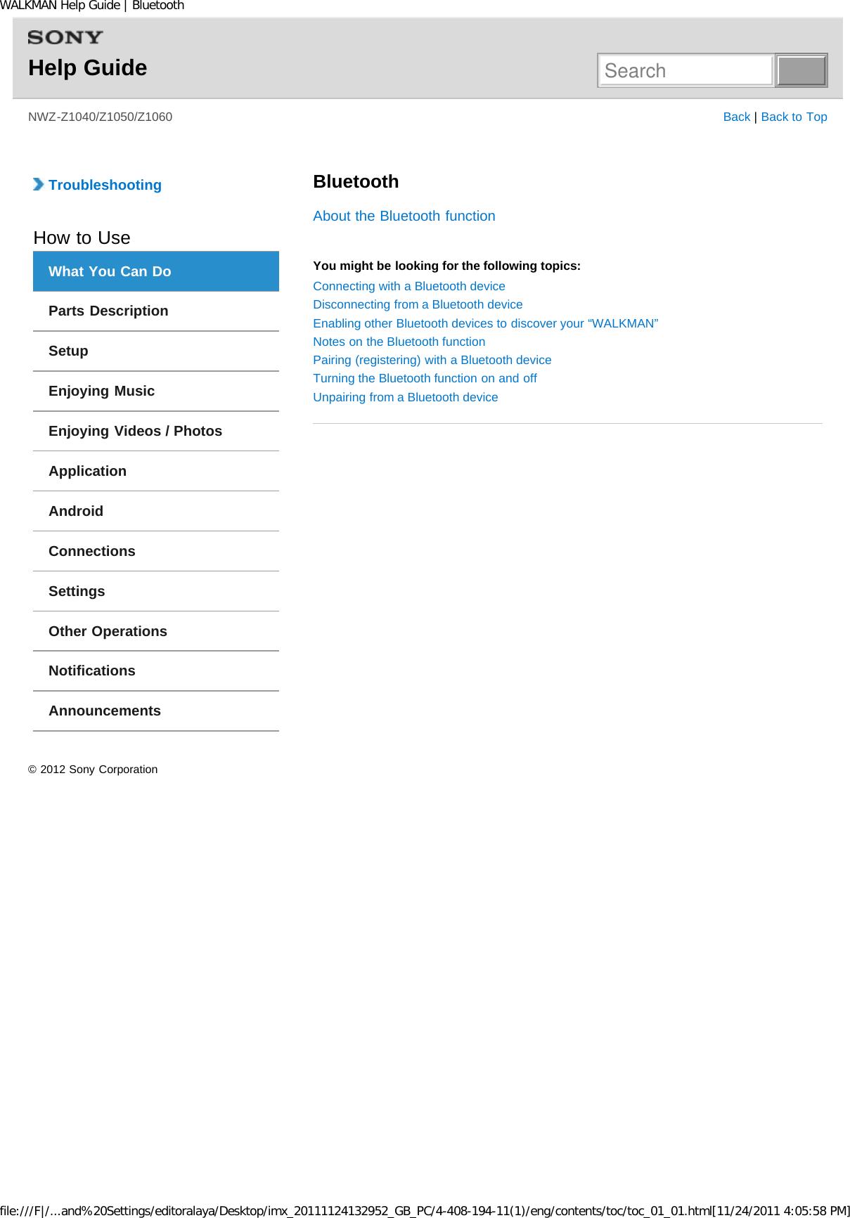 Sony NWZZ1000 Digital Media Player User Manual WALKMAN