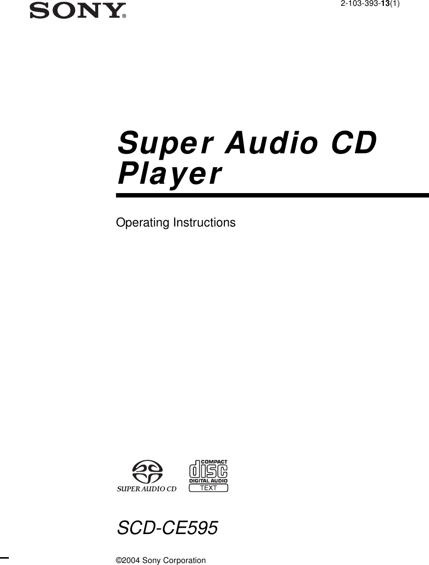 Sony SCD CE595 US02REG U2 User Manual Operating