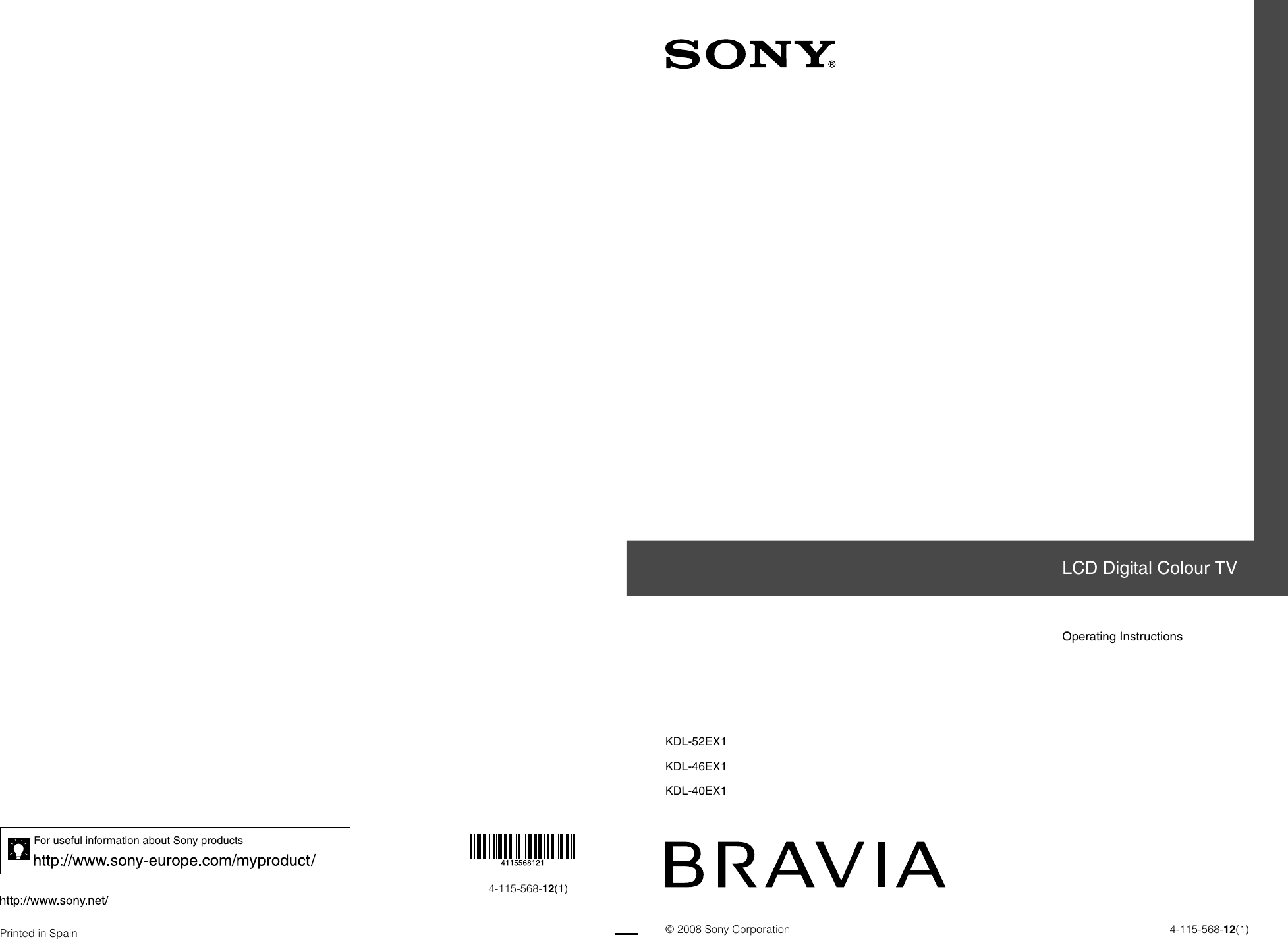Sony Bravia 4 115 568 121 Users Manual KDL 40EX1/KDL 46EX1