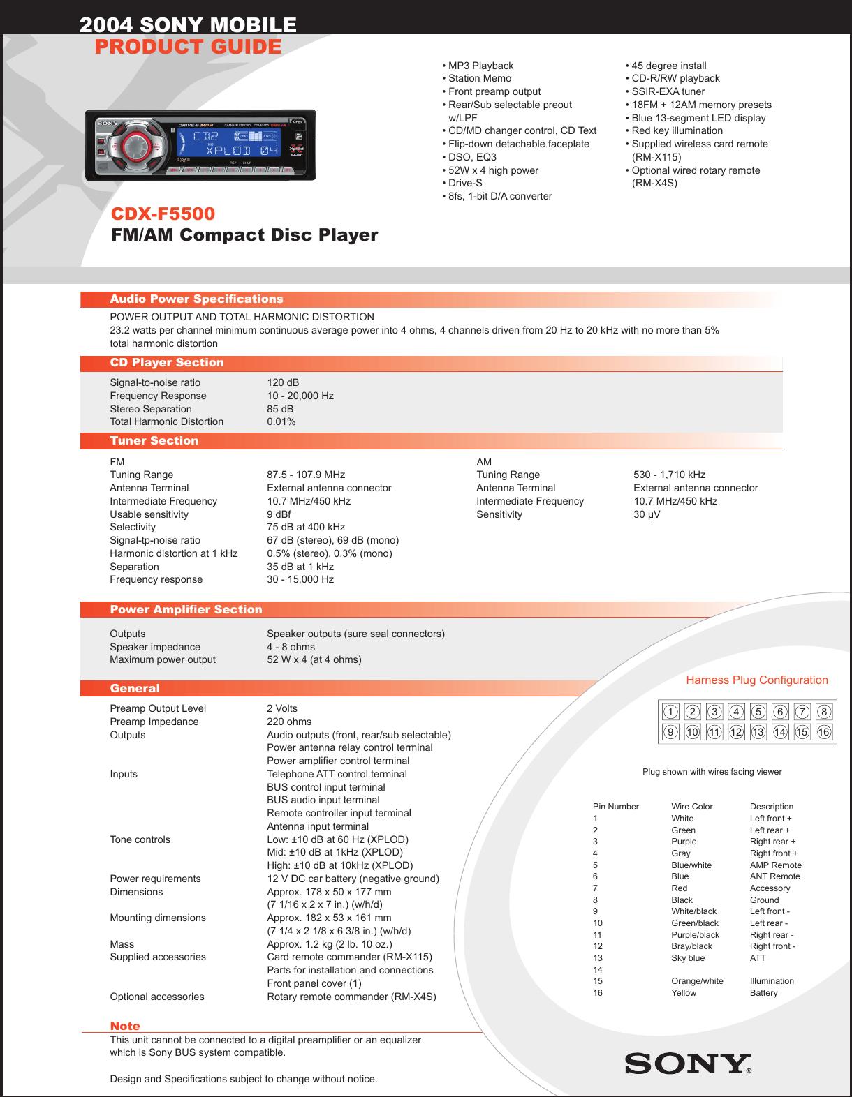hight resolution of sony cdx f5500 wiring diagram