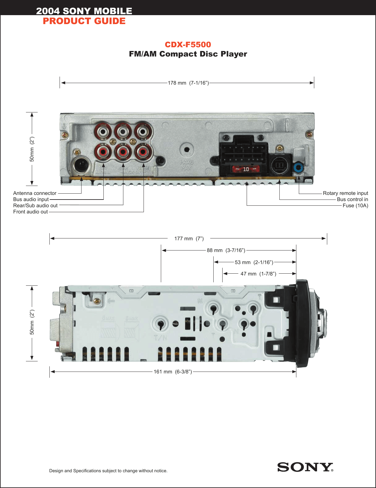 hight resolution of sony cdx f5500 marketing specifications sony m 610 wiring harness diagram page 2 of 2 sony
