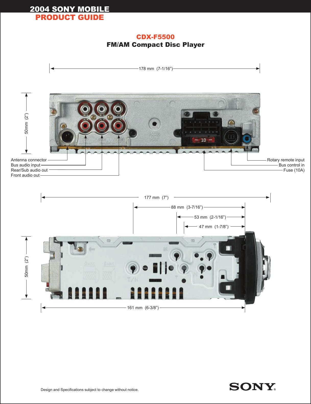 hight resolution of sony cdx f5500 marketing specifications sony m 610 wiring harness diagram sony cdx f5500 wiring diagram