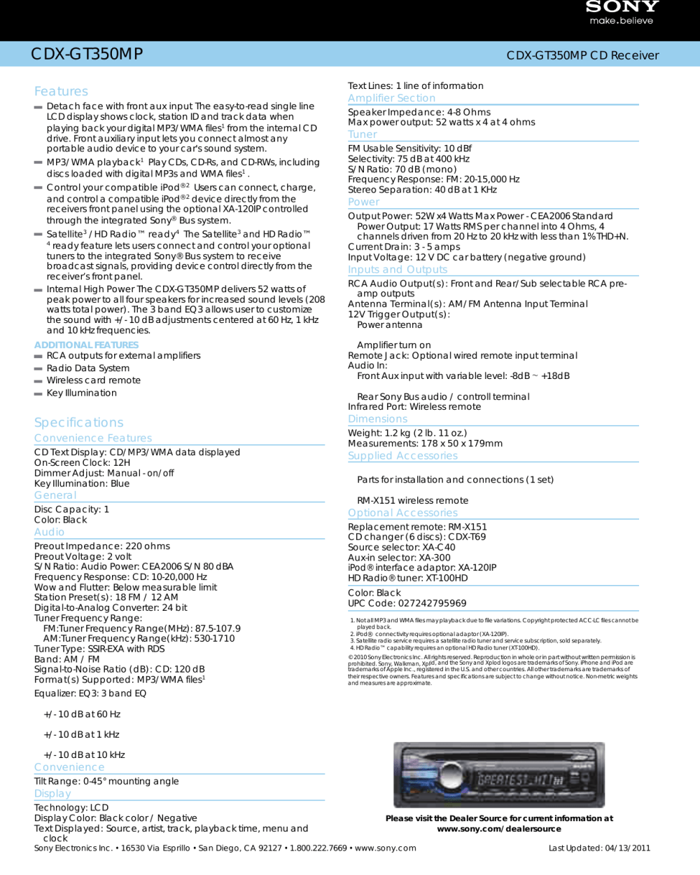 medium resolution of page 2 of 2 sony sony cdx gt350mp users manual