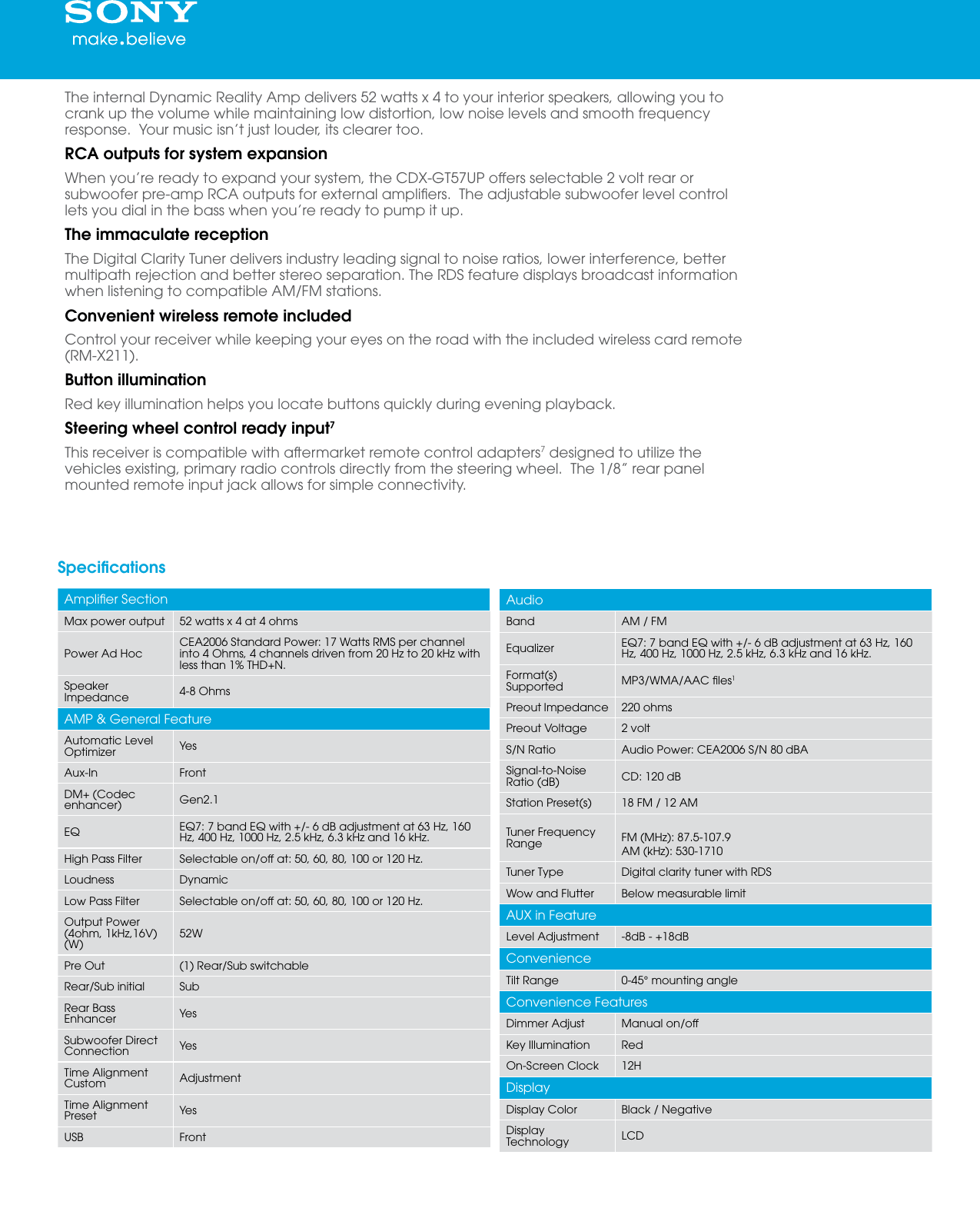 hight resolution of page 2 of 5 sony sony cdx gt57up marketing specifications