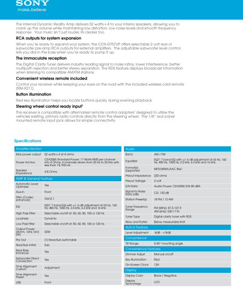 small resolution of page 2 of 5 sony sony cdx gt57up marketing specifications