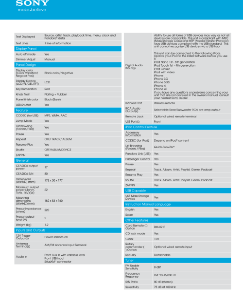 small resolution of page 3 of 5 sony sony cdx gt57up marketing specifications