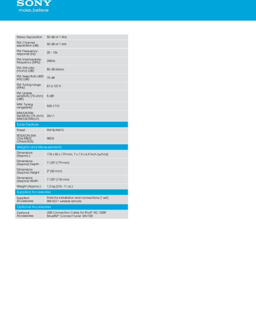 small resolution of page 4 of 5 sony sony cdx gt57up marketing specifications