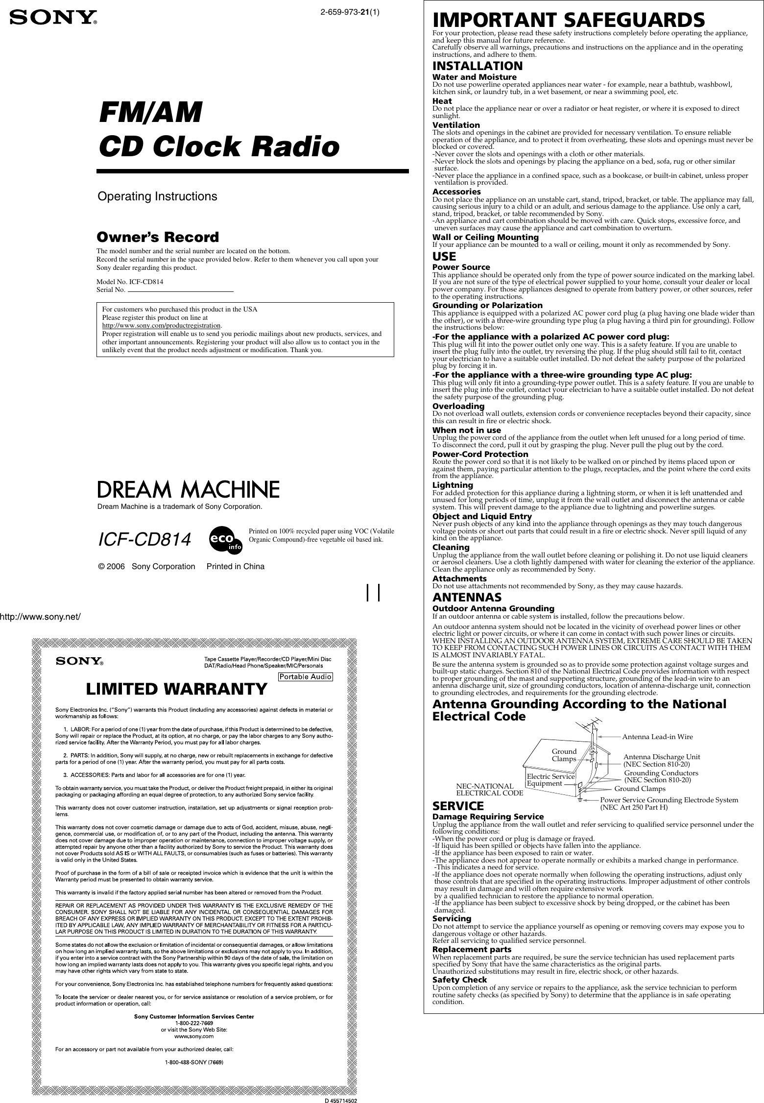 Sony Dream Machine Icf Cd814 Users Manual