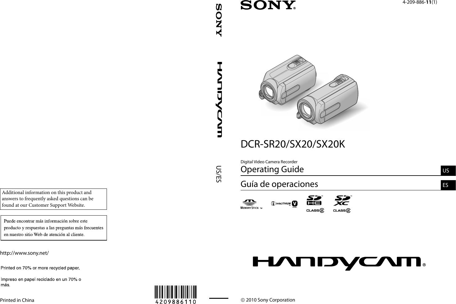 Sony Handycam Dcr Sr20 Users Manual SR20/SX20/SX20K