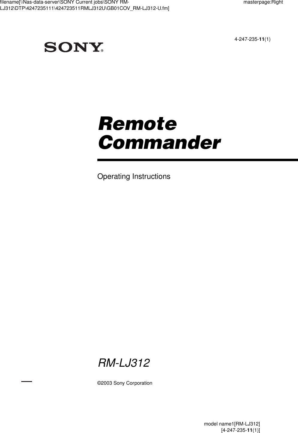 Sony Rm Lj312 Users Manual
