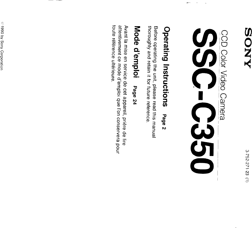 Sony Camcorder Ssc C350 Users Manual