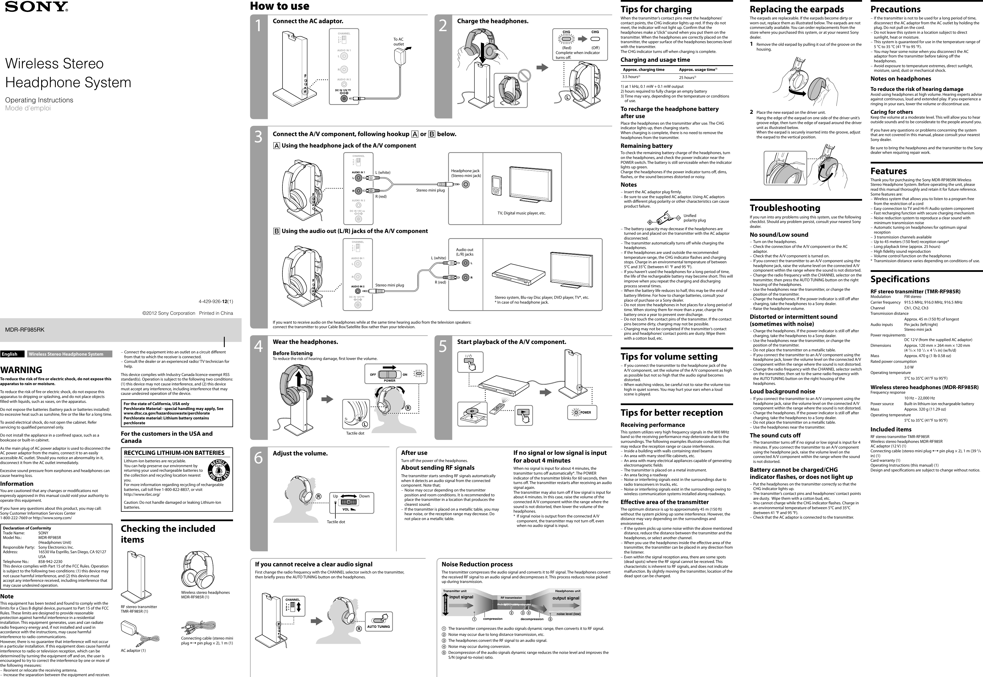 Sony Wireless Rf Headphone Mdr Rf985Rk Users Manual