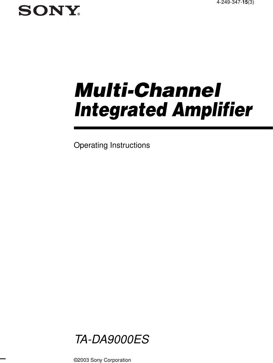 Sony Ta Da9000Es Users Manual