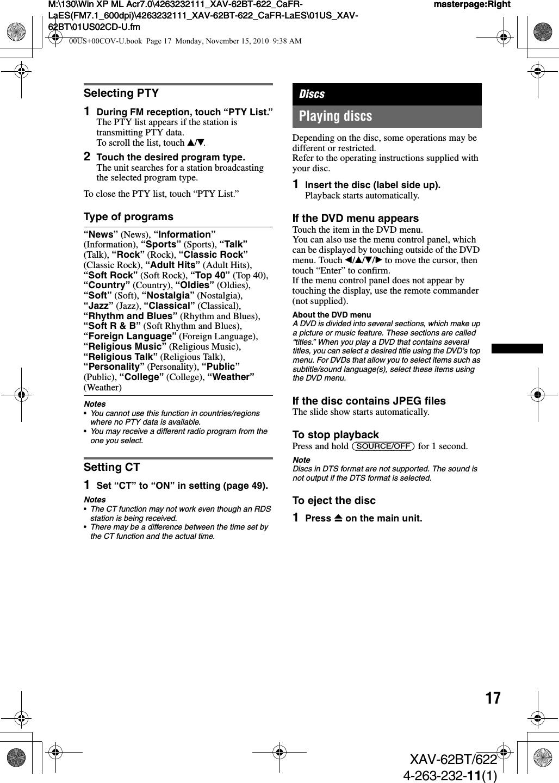 Sony XAV62BT AV Center User Manual XAV 62BT 622