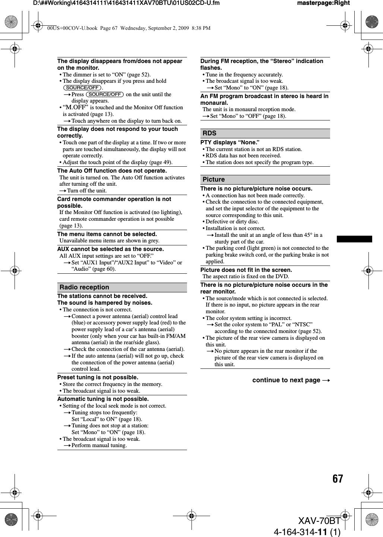Sony XAV70BT AV Center User Manual XAV 70BT