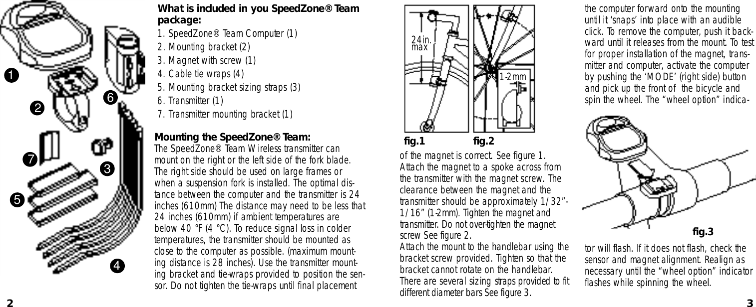 Specialized Speedzone Pro Cyclocomputer Users Manual Team