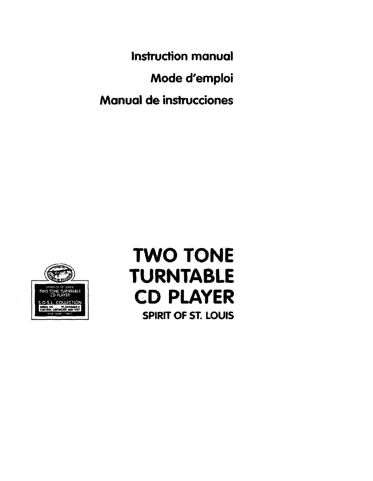 Spirit Of St Louis 841305 User Manual CD PLAYER Manuals