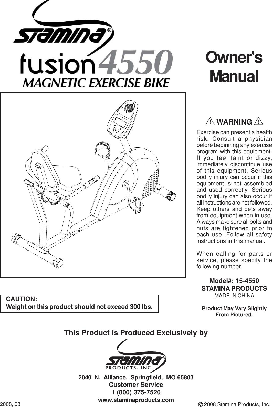 Stamina Exercise Bike 15 4550 Users Manual 4545NNNN