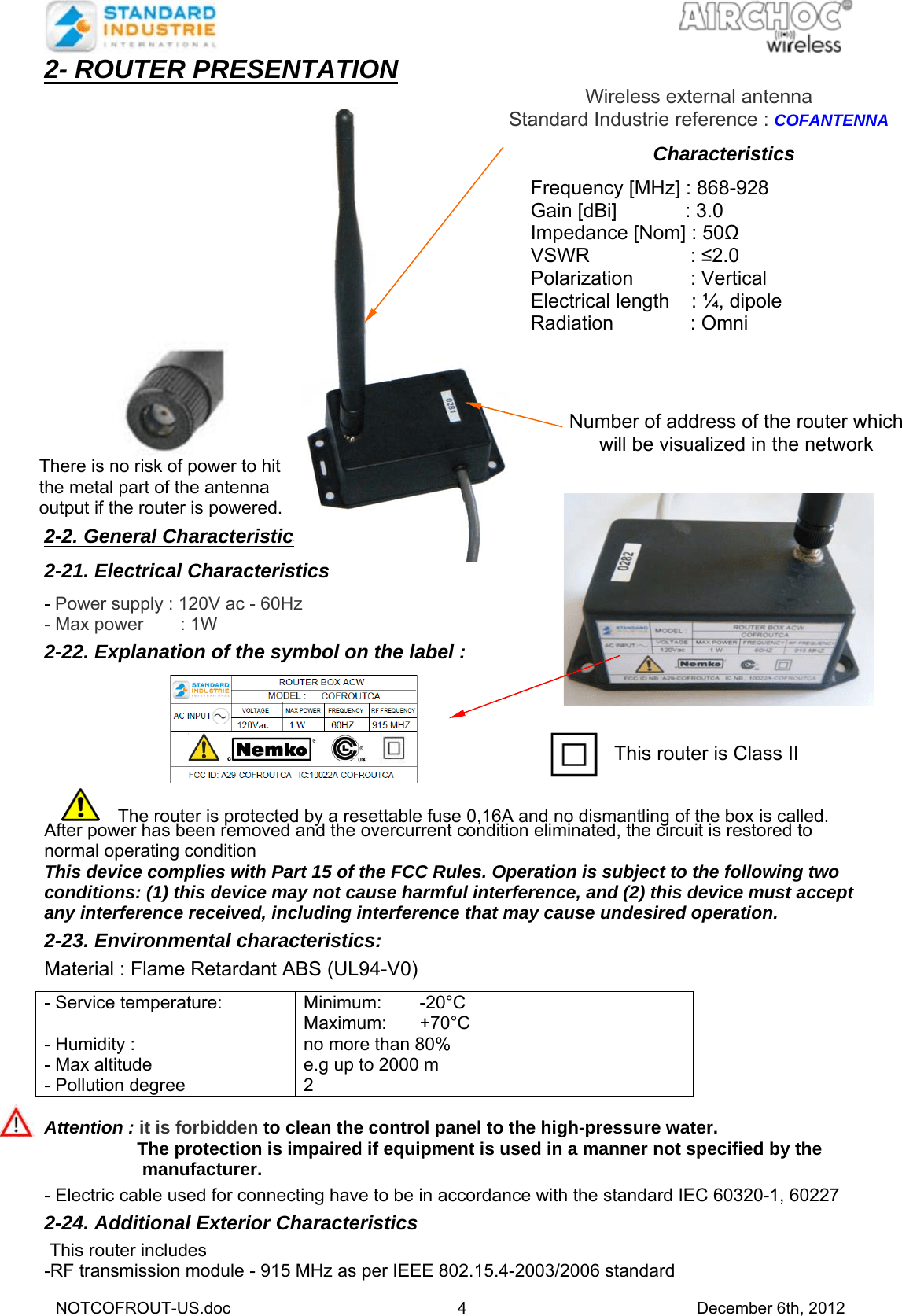 Standard Industrie Cofroutca Router For Airchoc Wireless