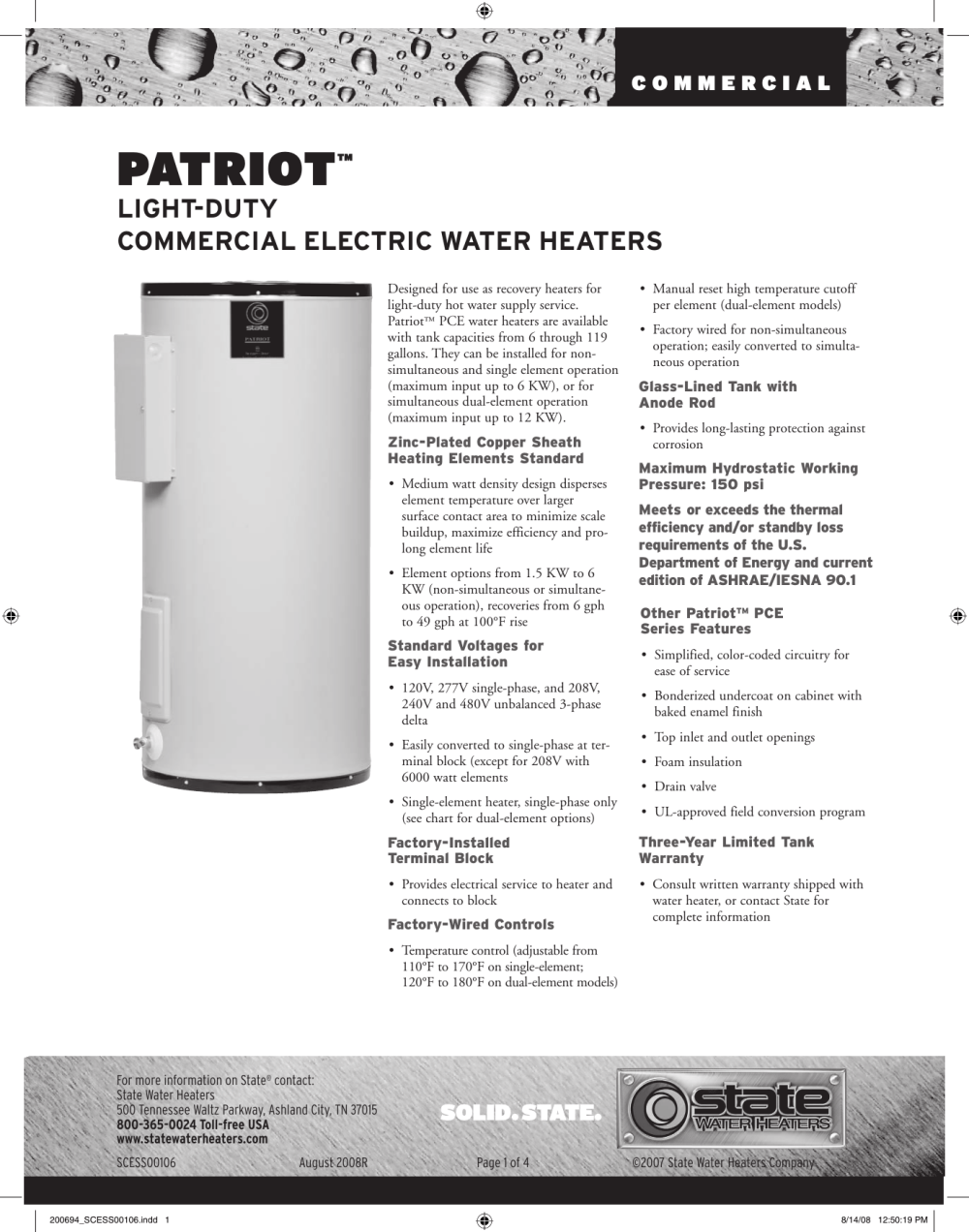 medium resolution of state industries patriot commercial electric water heater users manual 200694 scess00106