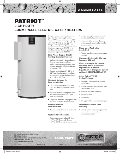 small resolution of state industries patriot commercial electric water heater users manual 200694 scess00106