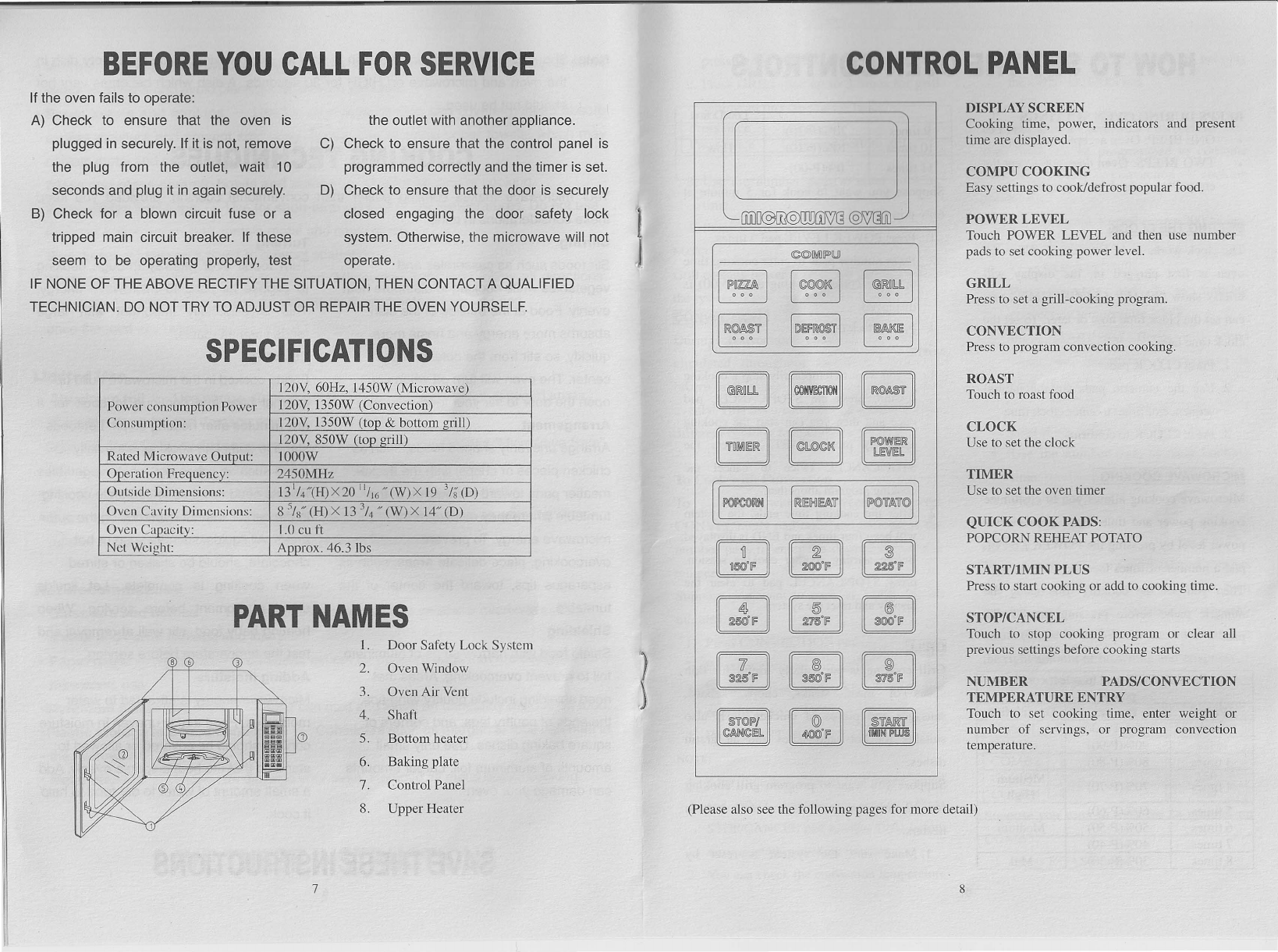 Sunbeam Microwave Oven Sb 22200 Users Manual
