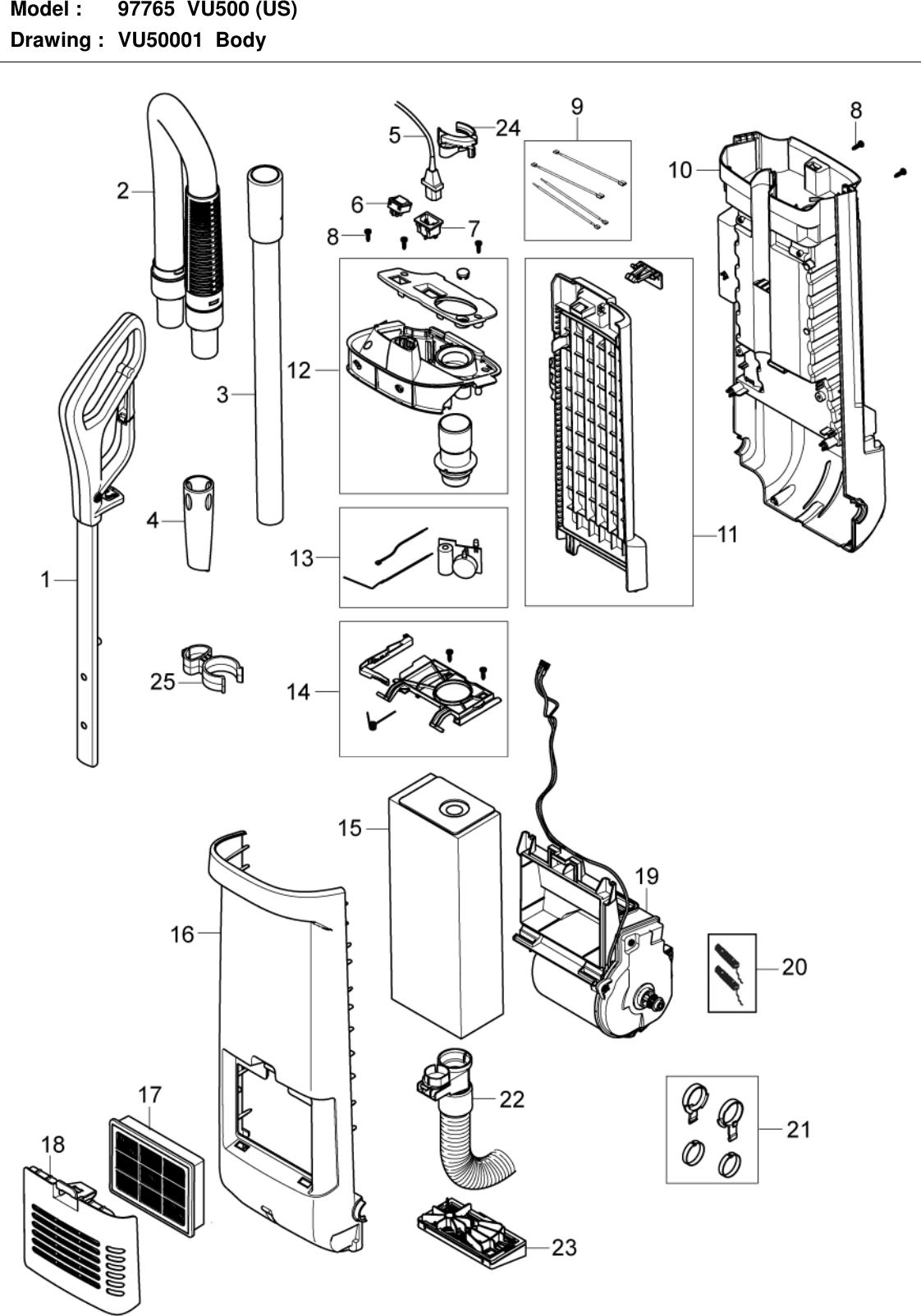 Advance vu500 upright vacuum parts manual