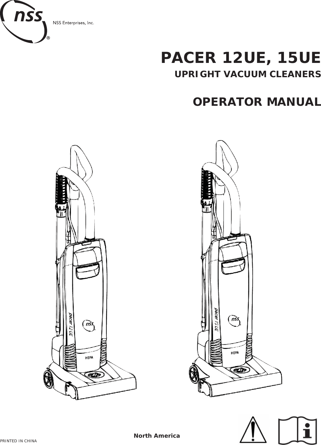 9099600 PACER 12UE 15UE OPERATION MANUAL Nss 12 ue upright
