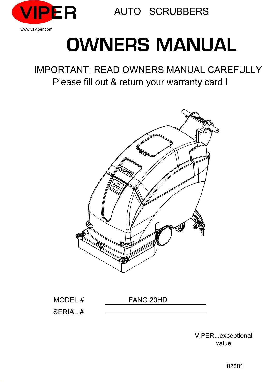 D Viper Fang 20 Hd Floor Scrubber Parts And Operator Manual