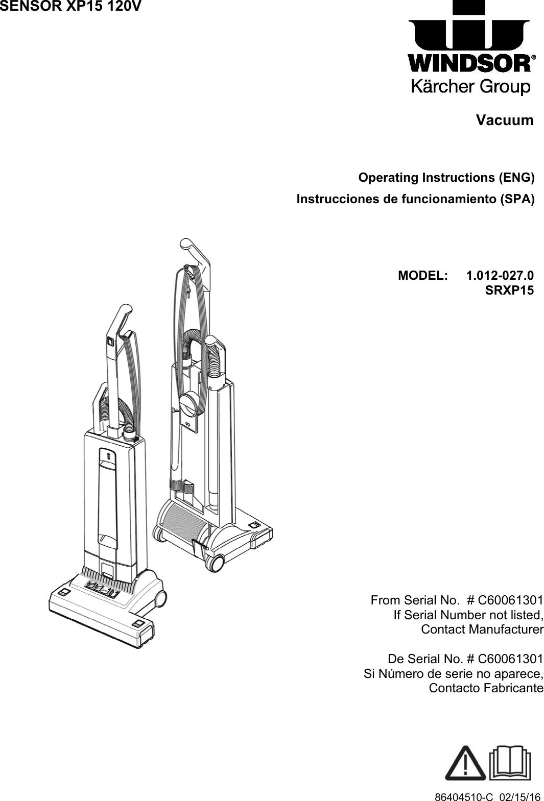 Windsor sensor xp15 120v upright vacuum service parts manual