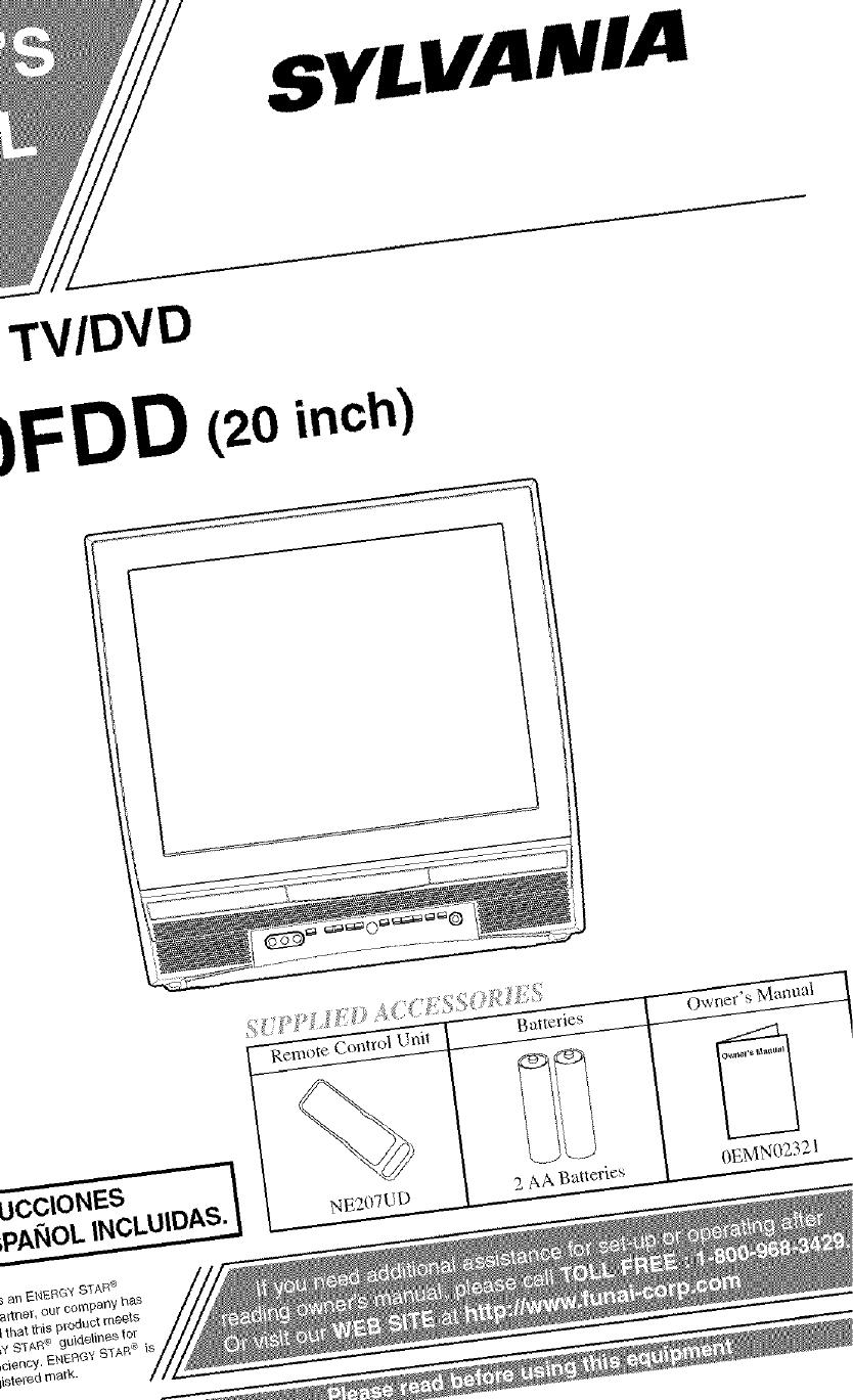 Sylvania 6520FDD User Manual TV/DVD Manuals And Guides