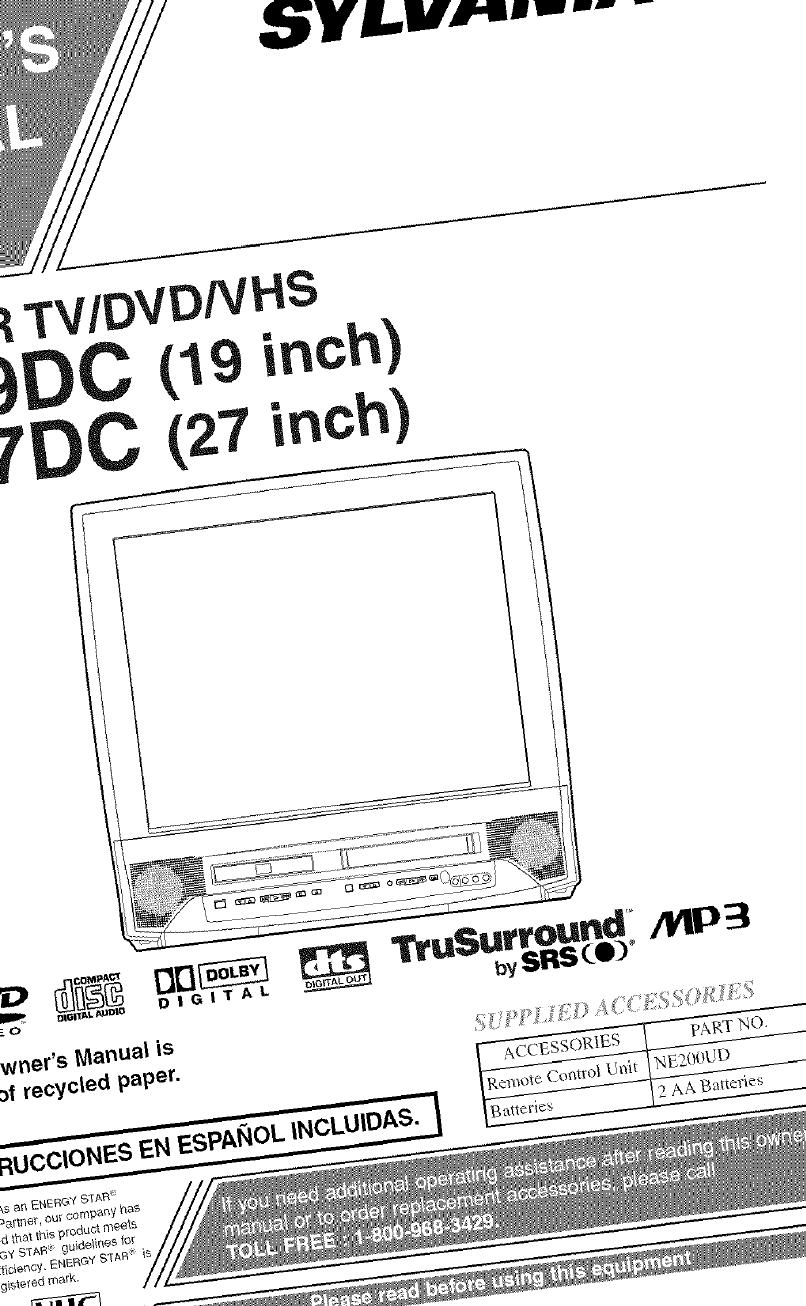 Sylvania 6719DC User Manual TV/VCR/DVD COMBO Manuals And