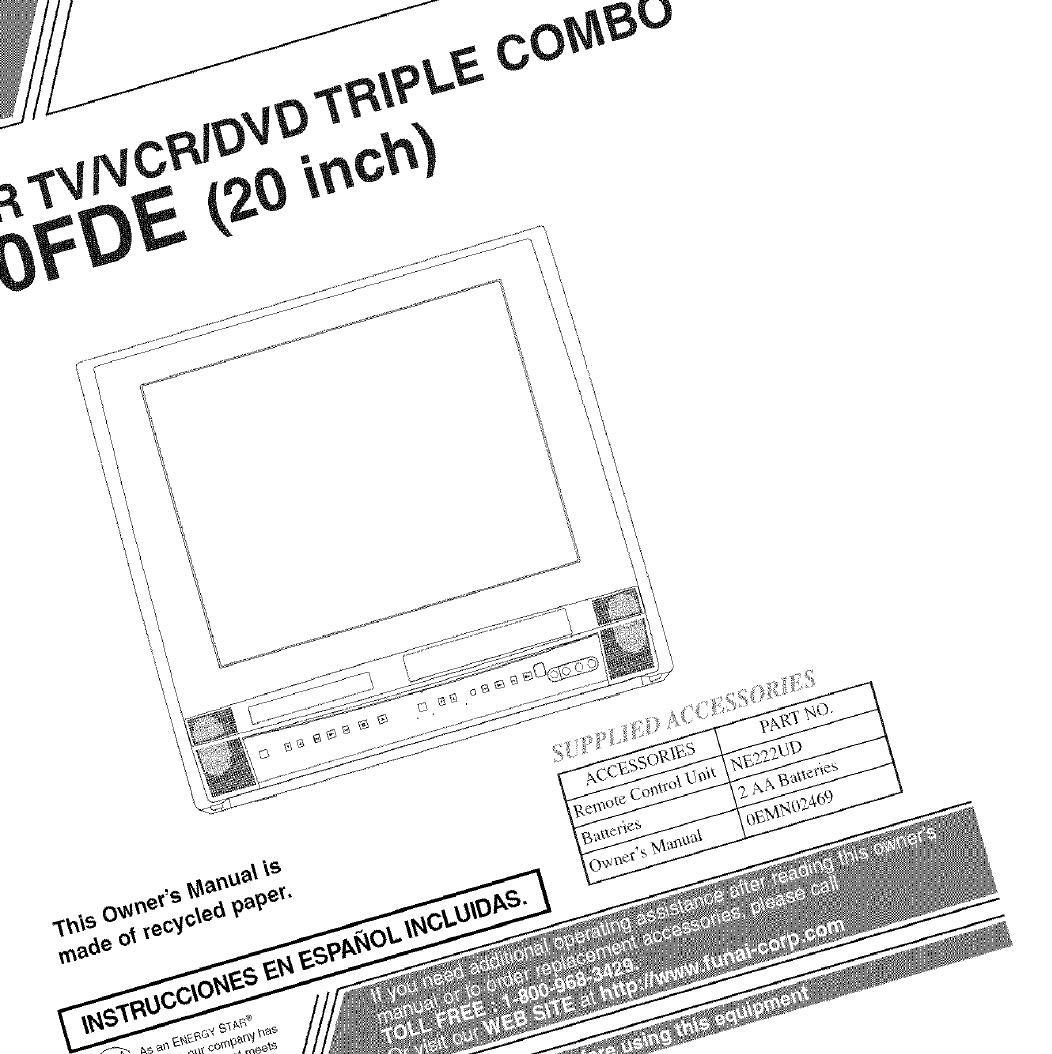 Sylvania 6720FDE User Manual TV/VCR/DVD COMBO Manuals And