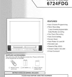 sylvania 6724fdg user manual dvd vcr television manuals and guides l0605004 [ 1016 x 1444 Pixel ]