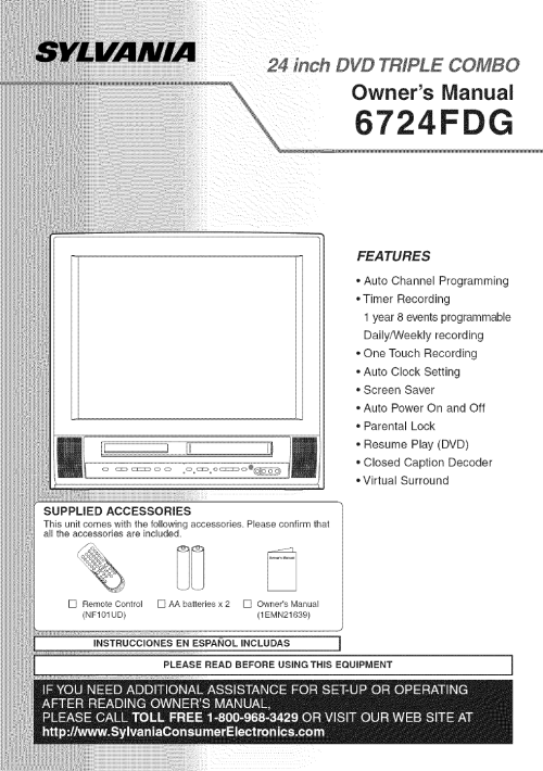 small resolution of sylvania 6724fdg user manual dvd vcr television manuals and guides l0605004