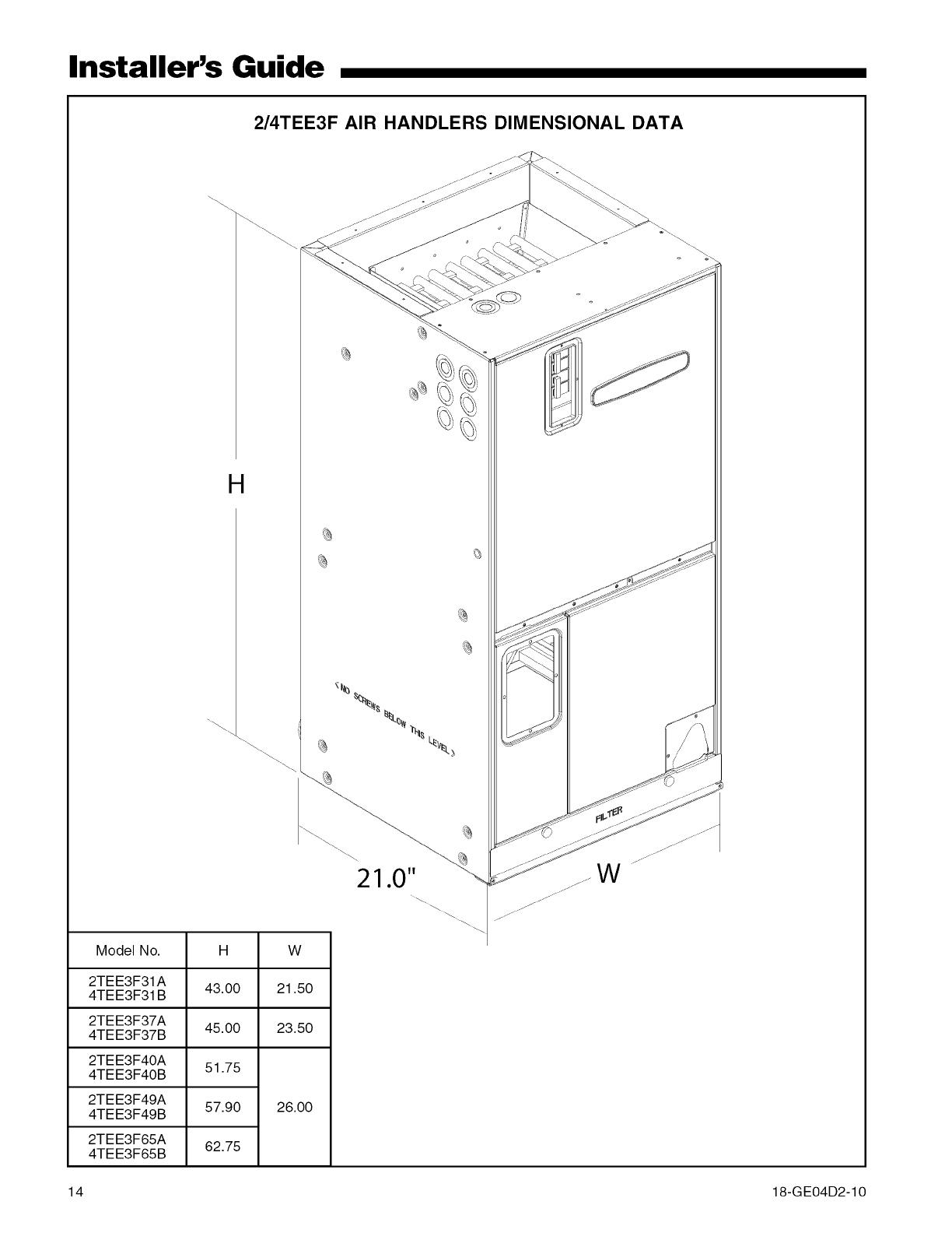 TRANE Air Handler (indoor Blower&evap) Manual L0905018