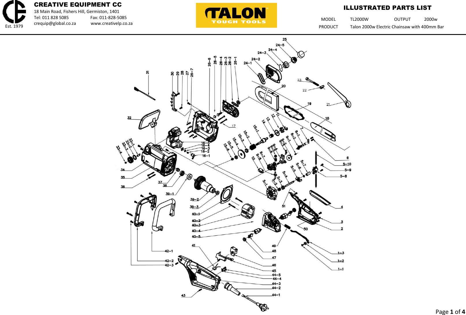 Talon Tools Tl2000W Parts List