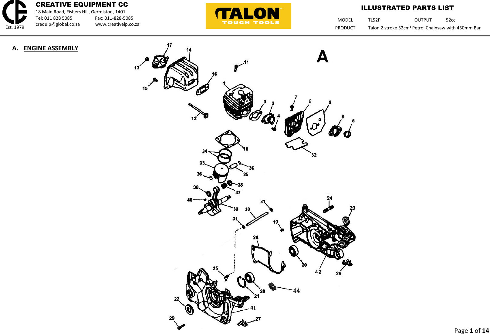 Talon Tools Tl52P Parts List WEB Master Illustrated Petrol