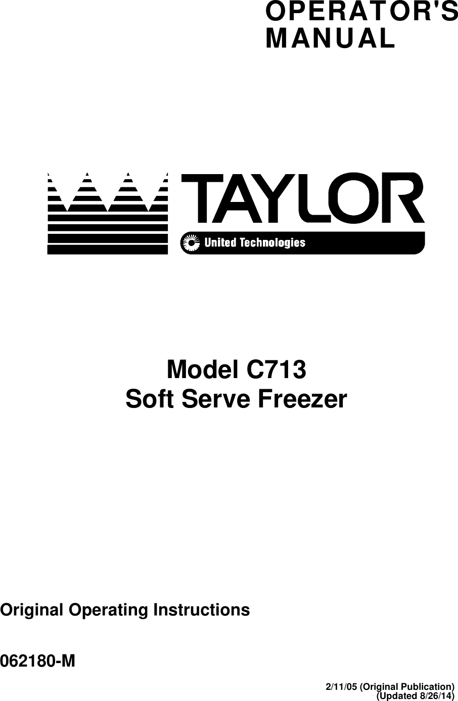 Taylor Refrigerator C713 Users Manual